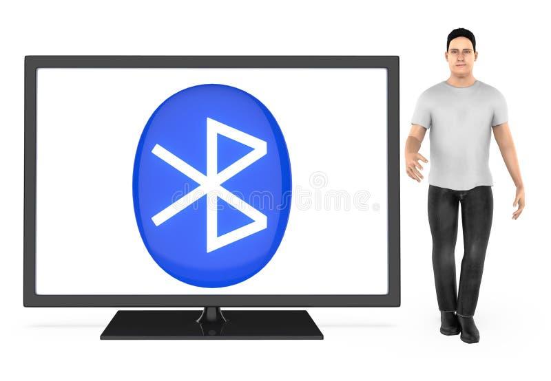 3d характер, человек представляя ТВ при знак bluetooth показанный в экране бесплатная иллюстрация