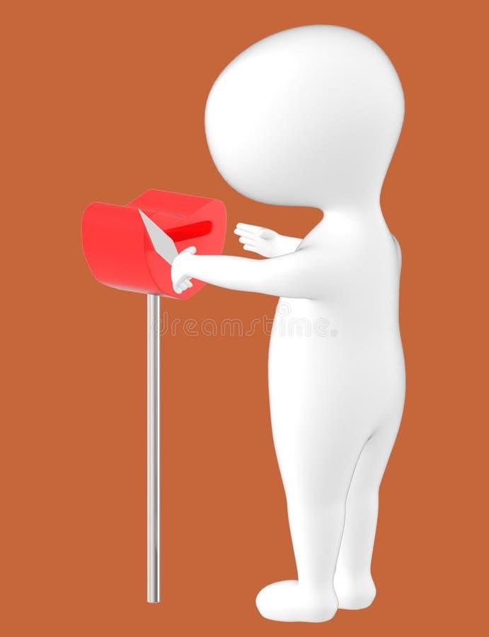 3d характер, человек принимая вне конверт от коробки письма иллюстрация вектора