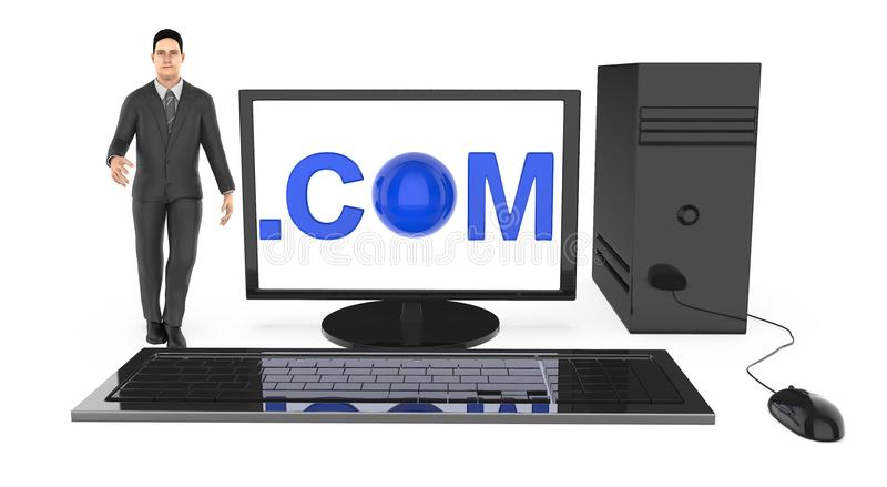 3d характер, человек стоя близко к компьютеру, с com показанный в экране монитора бесплатная иллюстрация