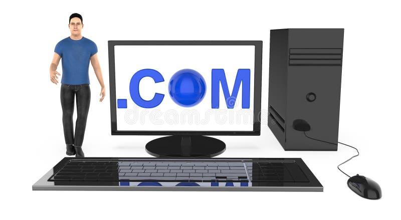 3d характер, человек стоя близко к компьютеру, с com показанный в экране монитора иллюстрация штока