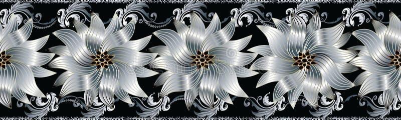 3d цветет безшовная граница Флористическая картина повторения Flouri вектора иллюстрация штока