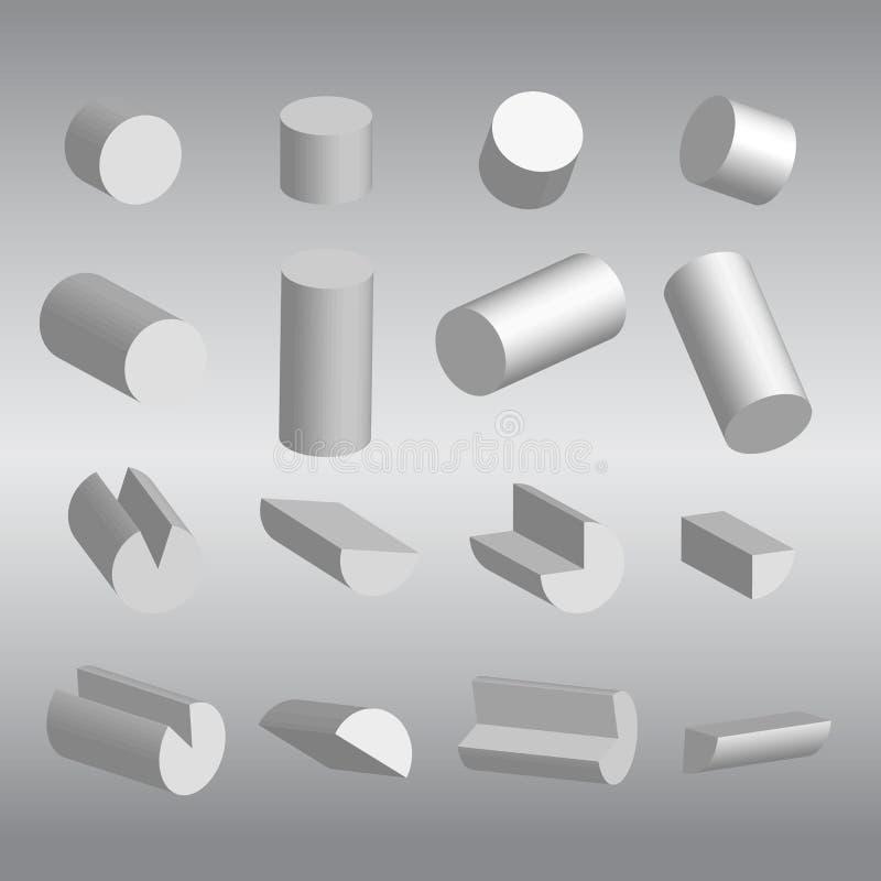 3D цилиндрическое и вектор частей стоковое изображение rf