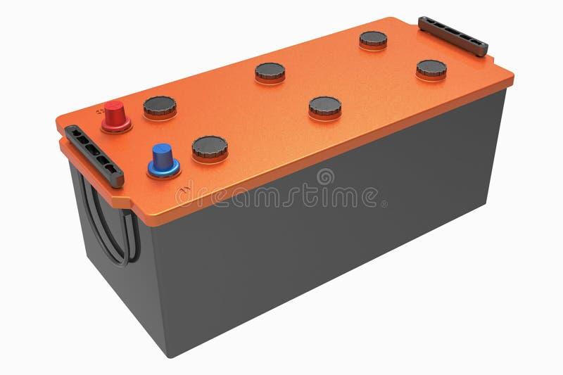 3D чернят батарею тележки с оранжевой крышкой и красным и голубым termin стоковое фото