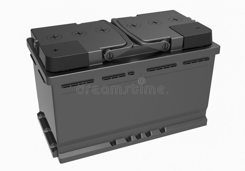 3D чернят батарею тележки с черными ручками и черным терминальным cov стоковое фото