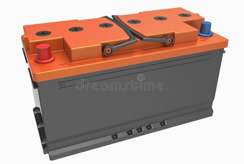 3D чернят батарею тележки с черными ручками, оранжевой крышкой и красным цветом стоковое изображение