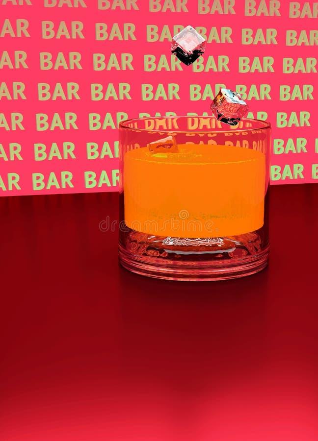 3d штанга Кубы льда падают в стекло апельсинового сока иллюстрация вектора