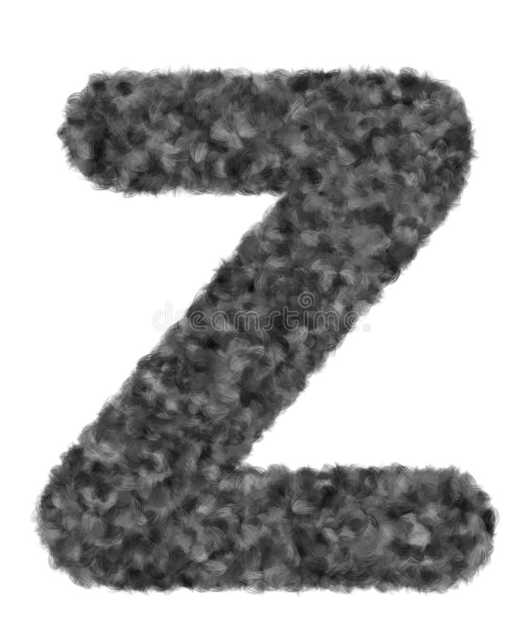 """3D """"Black wool wolf fur letter Z"""" creative decorative with brush animal hair, Character Z isolated in white background. 3D """"Black wool wolf royalty free stock image"""