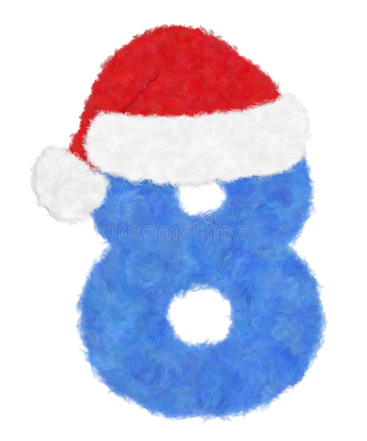 """3D """"Blue wool fur feather character Number"""" creative decorative with Red Christmas hat, Number 8 isolated in white background. 3D """"Blue wool vector illustration"""