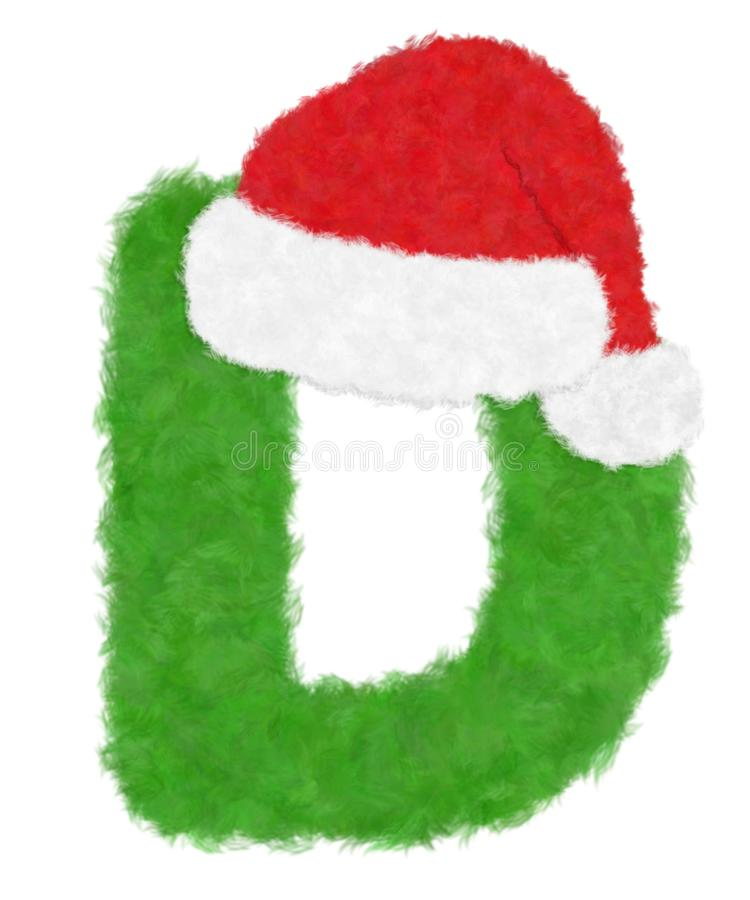 """3D """"Green wool fur feather letter"""" creative decorative with Red Christmas hat, Character D isolated in white background. Has clipping path and dicut stock illustration"""