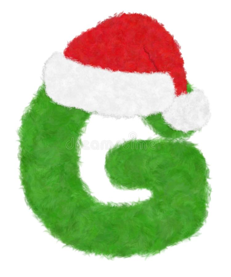"""3D """"Green wool fur feather letter"""" creative decorative with Red Christmas hat, Character G isolated in white background. Has clipping path and dicut royalty free illustration"""