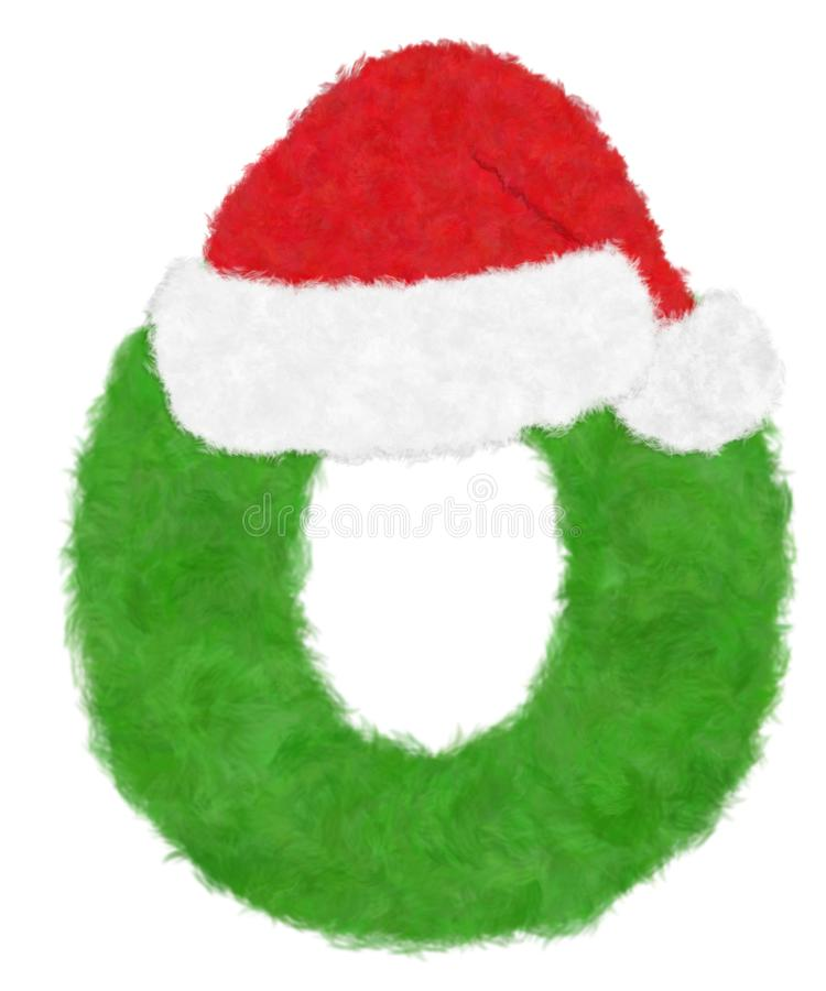 """3D """"Green wool fur feather letter"""" creative decorative with Red Christmas hat, Character O isolated in white background. Has clipping path and dicut vector illustration"""