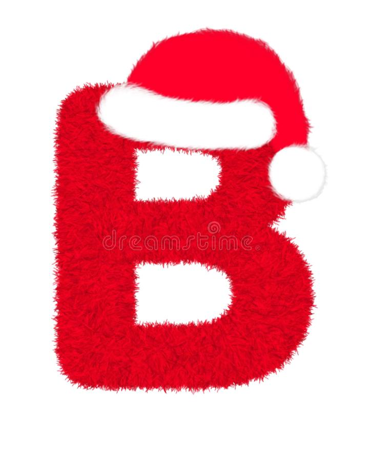 """3D """"Red fur feather carpet letter"""" creative decorative with Christmas hat, Character B isolated in white background. 3D """"Red fur feather royalty free illustration"""
