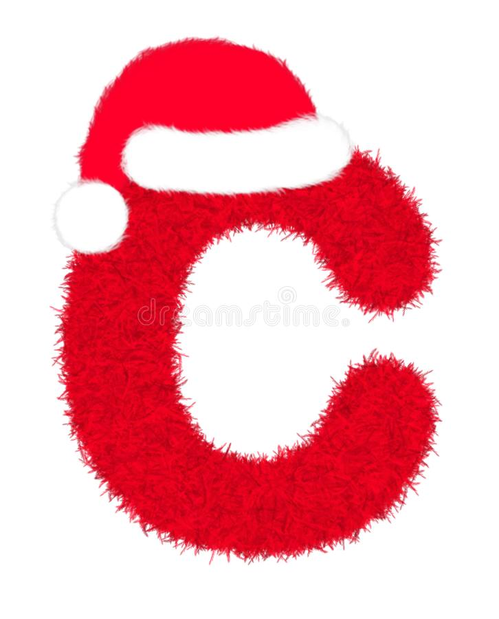 """3D """"Red fur feather carpet letter"""" creative decorative with Christmas hat, Character C isolated in white background. 3D """"Red fur feather stock illustration"""