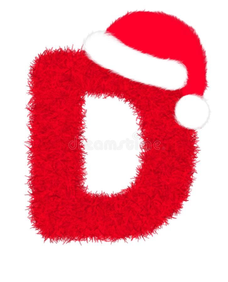 """3D """"Red fur feather carpet letter"""" creative decorative with Christmas hat, Character D isolated in white background. 3D """"Red fur feather royalty free illustration"""