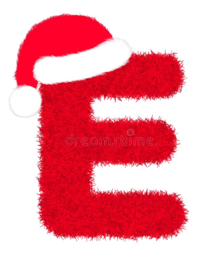 """3D """"Red fur feather carpet letter"""" creative decorative with Christmas hat, Character E isolated in white background. 3D """"Red fur feather vector illustration"""
