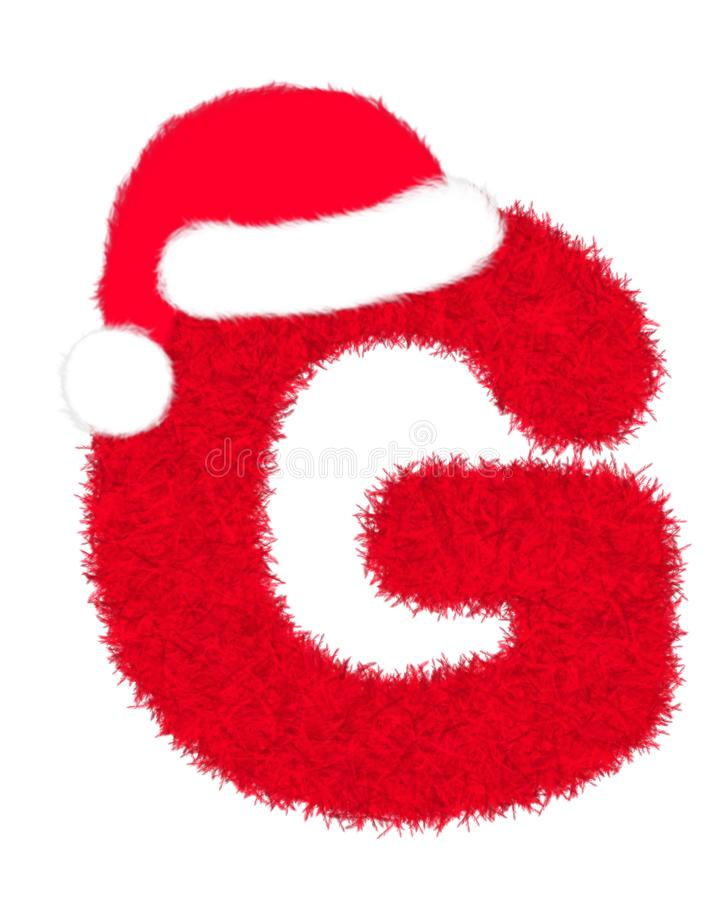 """3D """"Red fur feather carpet letter"""" creative decorative with Christmas hat, Character G isolated in white background. 3D """"Red fur feather royalty free illustration"""