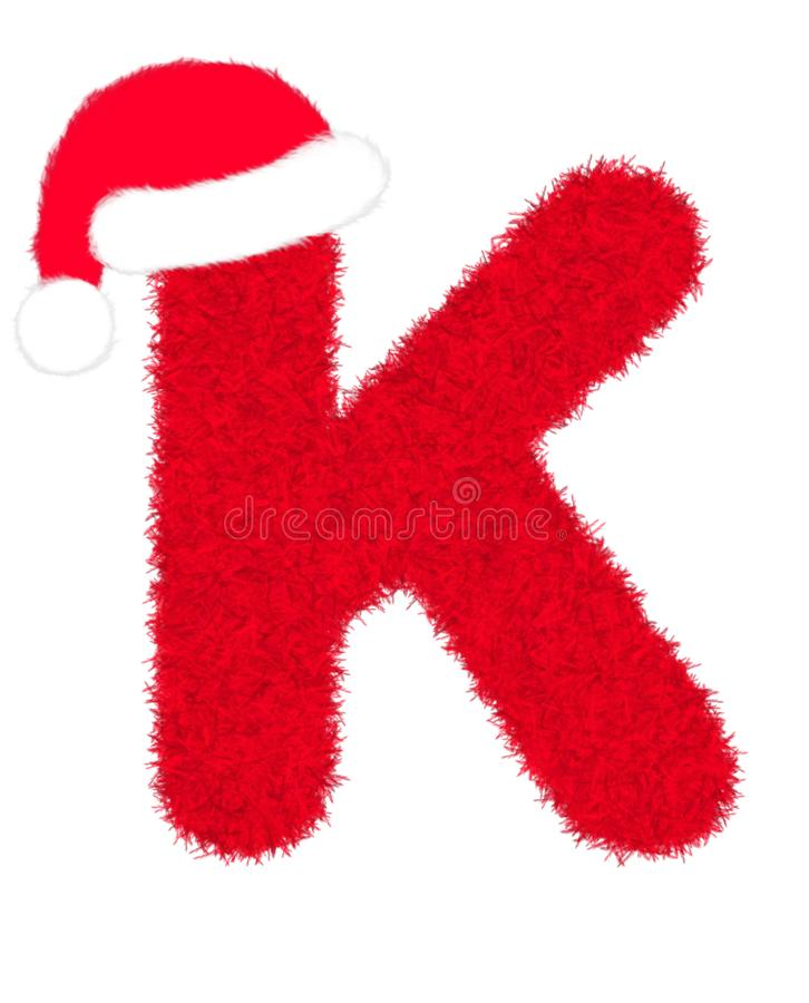 """3D """"Red fur feather carpet letter"""" creative decorative with Christmas hat, Character K isolated in white background. 3D """"Red fur feather vector illustration"""