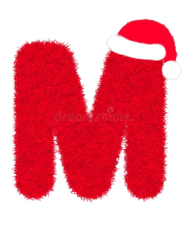 """3D """"Red fur feather carpet letter"""" creative decorative with Christmas hat, Character M isolated in white background. 3D """"Red fur feather royalty free illustration"""
