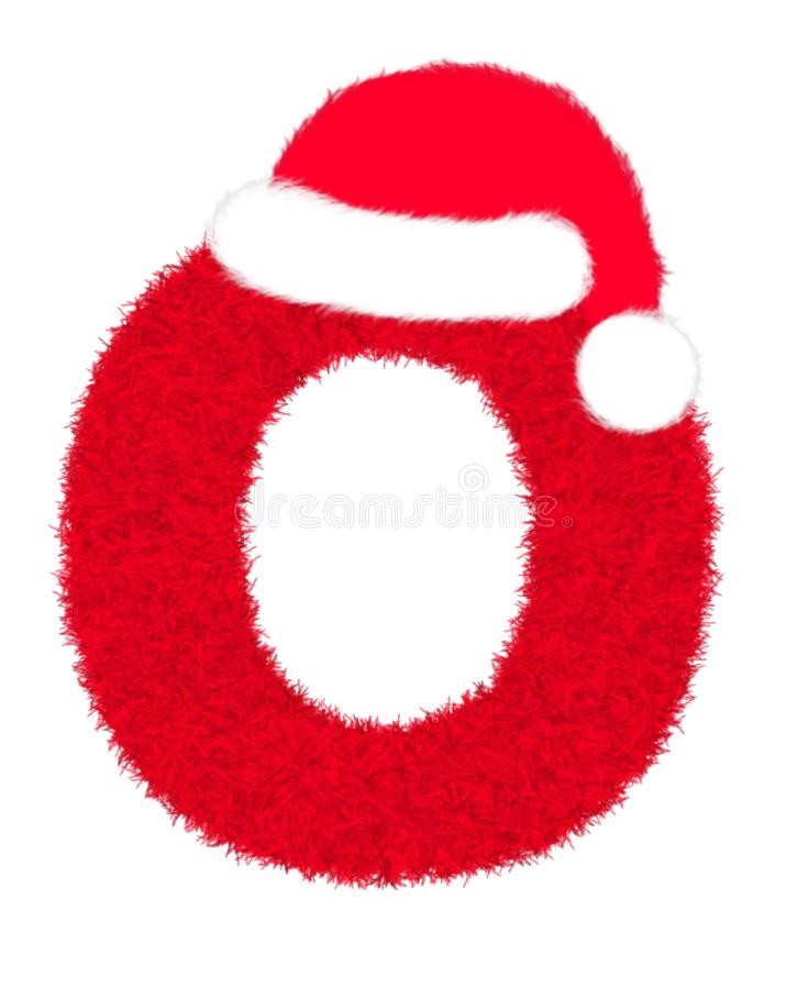 """3D """"Red fur feather carpet letter"""" creative decorative with Christmas hat, Character O isolated in white background. 3D """"Red fur feather vector illustration"""