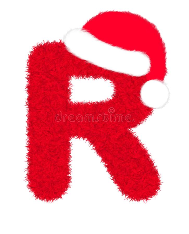 """3D """"Red fur feather carpet letter"""" creative decorative with Christmas hat, Character R isolated in white background. 3D """"Red fur feather vector illustration"""