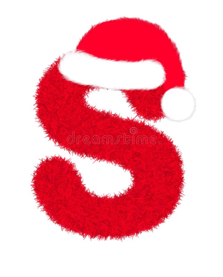 """3D """"Red fur feather carpet letter"""" creative decorative with Christmas hat, Character S isolated in white background. 3D """"Red fur feather royalty free illustration"""