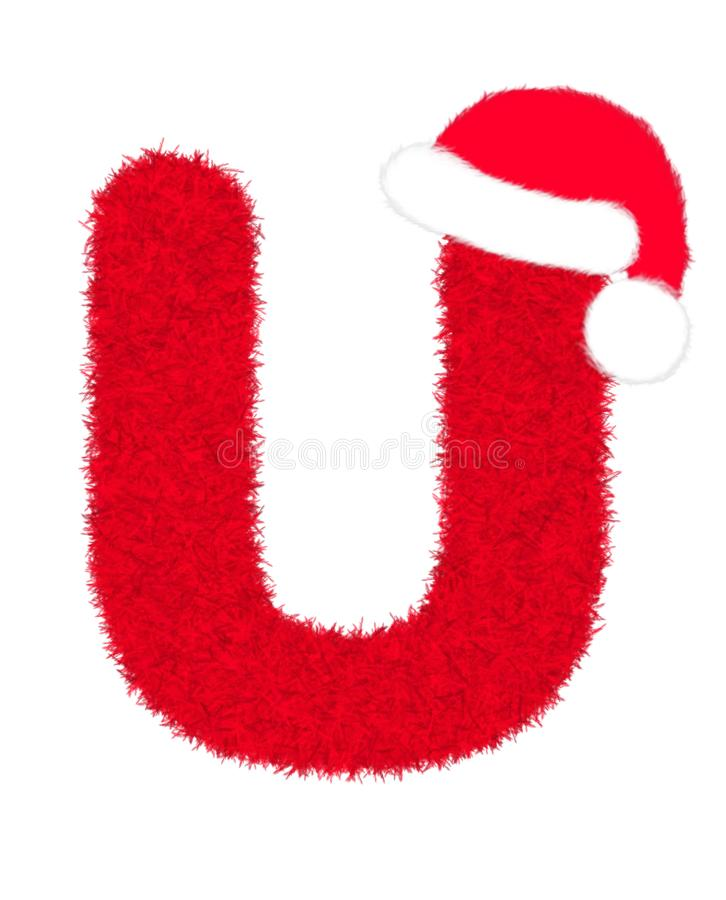 """3D """"Red fur feather carpet letter"""" creative decorative with Christmas hat, Character U isolated in white background. 3D """"Red fur feather stock illustration"""