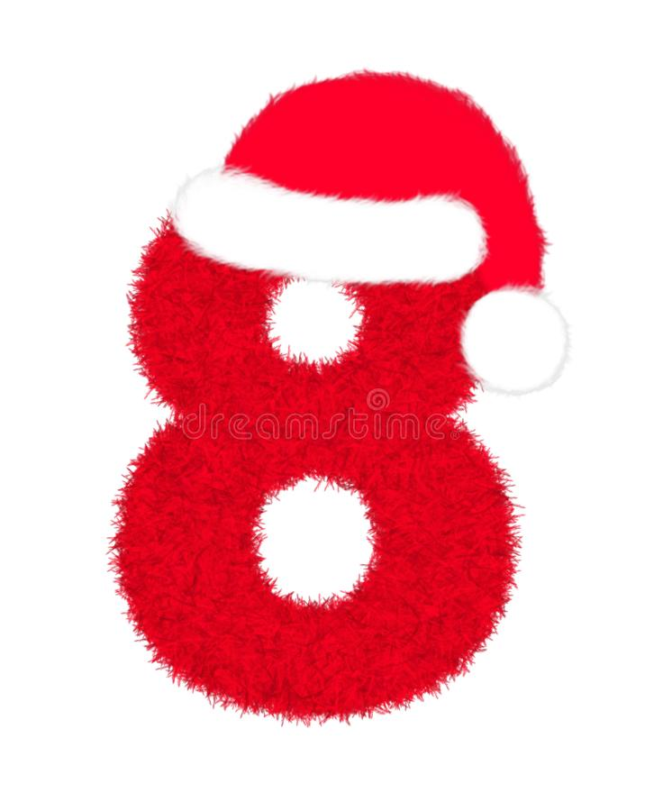"""3D """"Red fur feather character Number"""" creative decorative with Christmas hat, Number 8 isolated in white background. 3D """"Red fur feather stock illustration"""