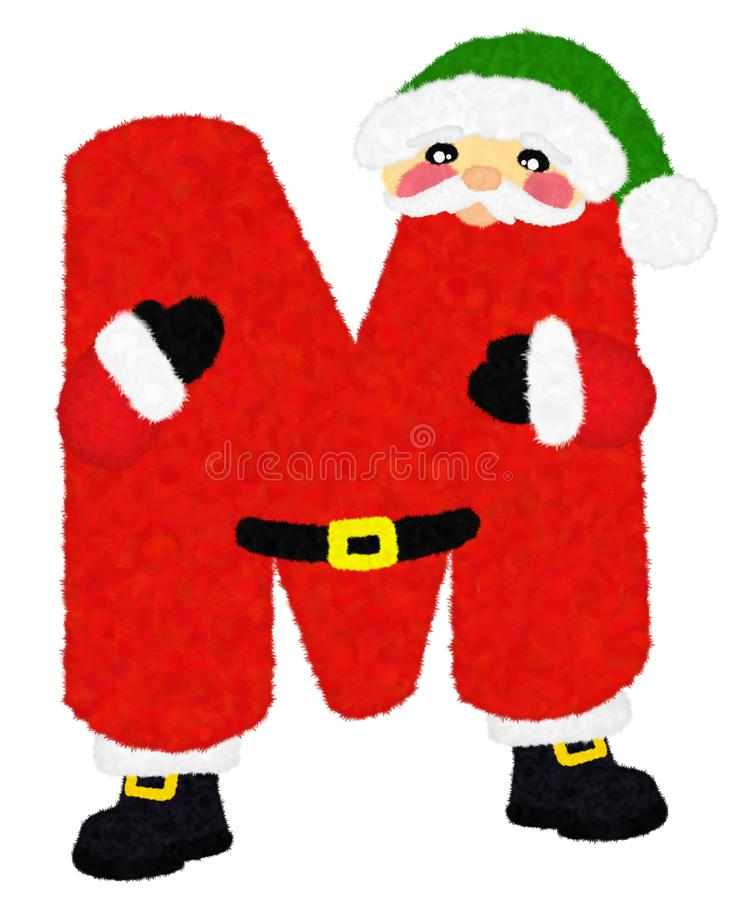 """3D """"Santa Claus Cartoon Character wool fur feather letter"""" creative decorative with Green Christmas hat,  Alphabet M isolated. 3D """"Santa Claus stock images"""