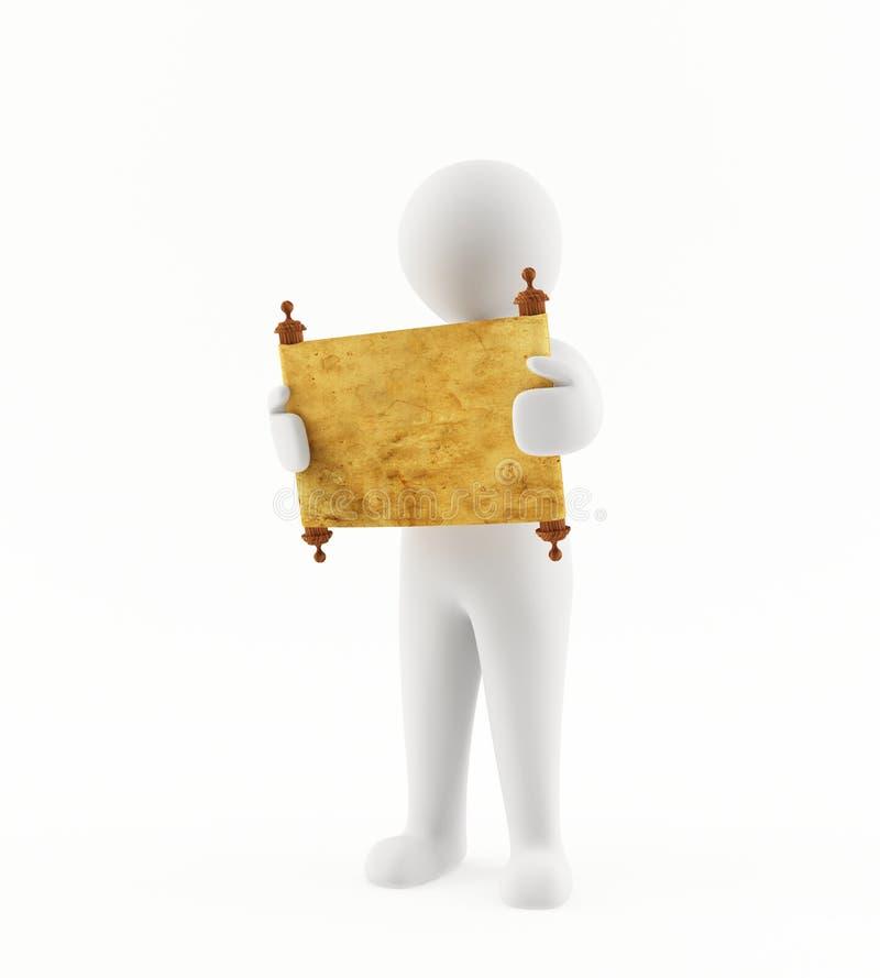 3D读一个古老纸卷的人 免版税图库摄影