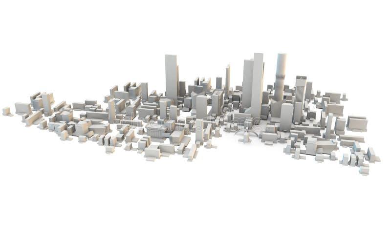 3d从上面回报城市或镇 向量例证