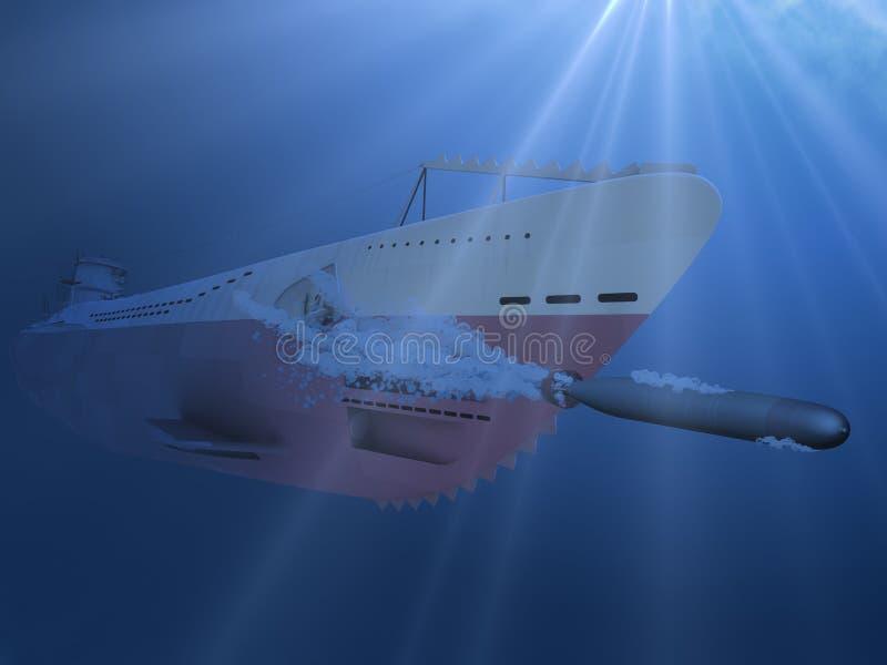 3d水下水下的鱼雷射击的例证 库存照片