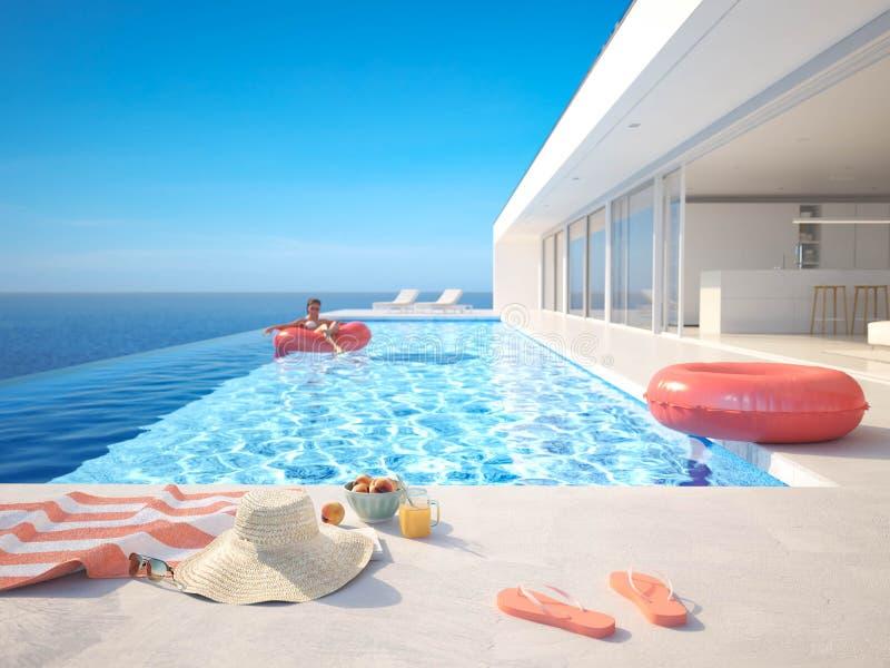 3D?? 与夏天辅助部件的现代豪华无限水池 库存例证