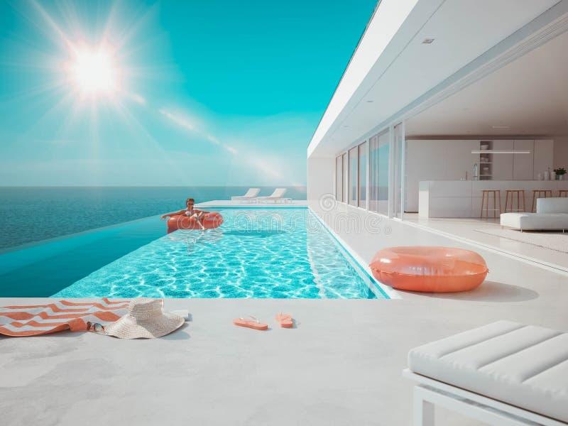 3D?? 与夏天辅助部件的现代豪华无限水池 小野鸭和桔子 库存例证