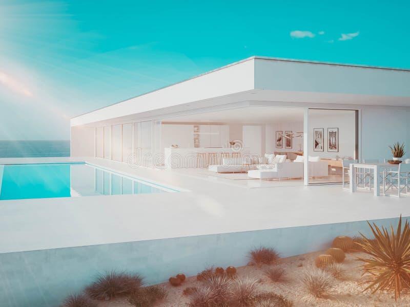 3D?? 与无限水池的现代豪华夏天别墅 库存例证