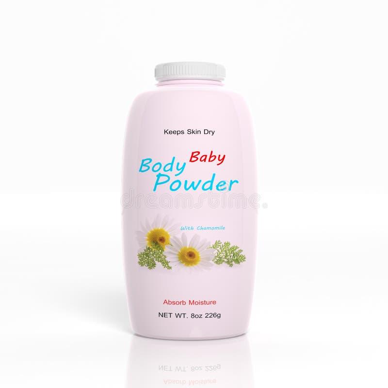 3D婴儿吸湿粉塑料瓶 向量例证