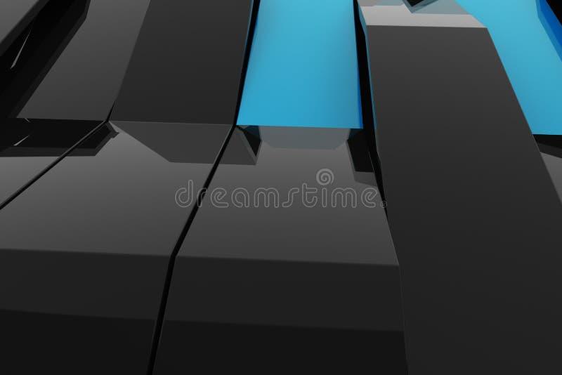 3D黑光泽塑料翻译挥动与色素 库存例证