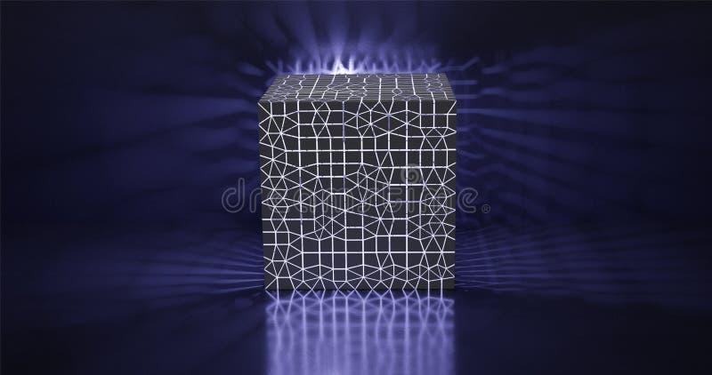 3d?? 包括与光亮边缘的一个抽象立方体多角形,发光在墙壁和领域上 图表例证为 库存例证