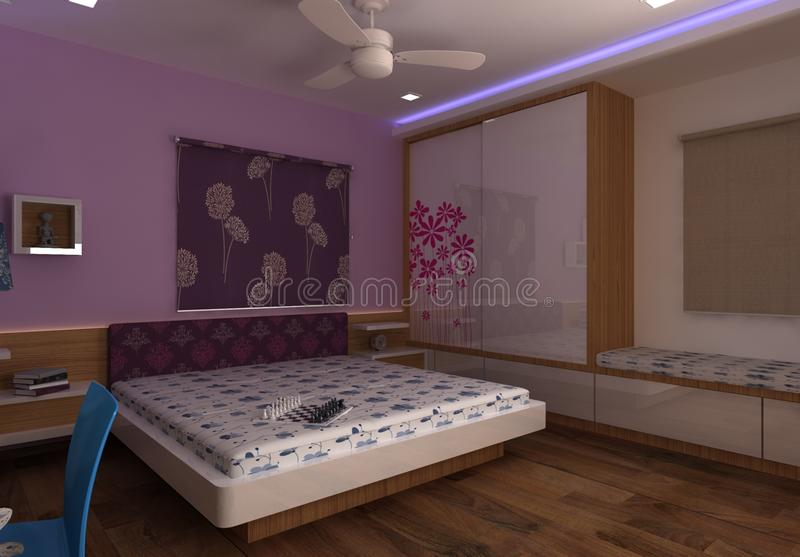 3D主卧室室内设计 向量例证