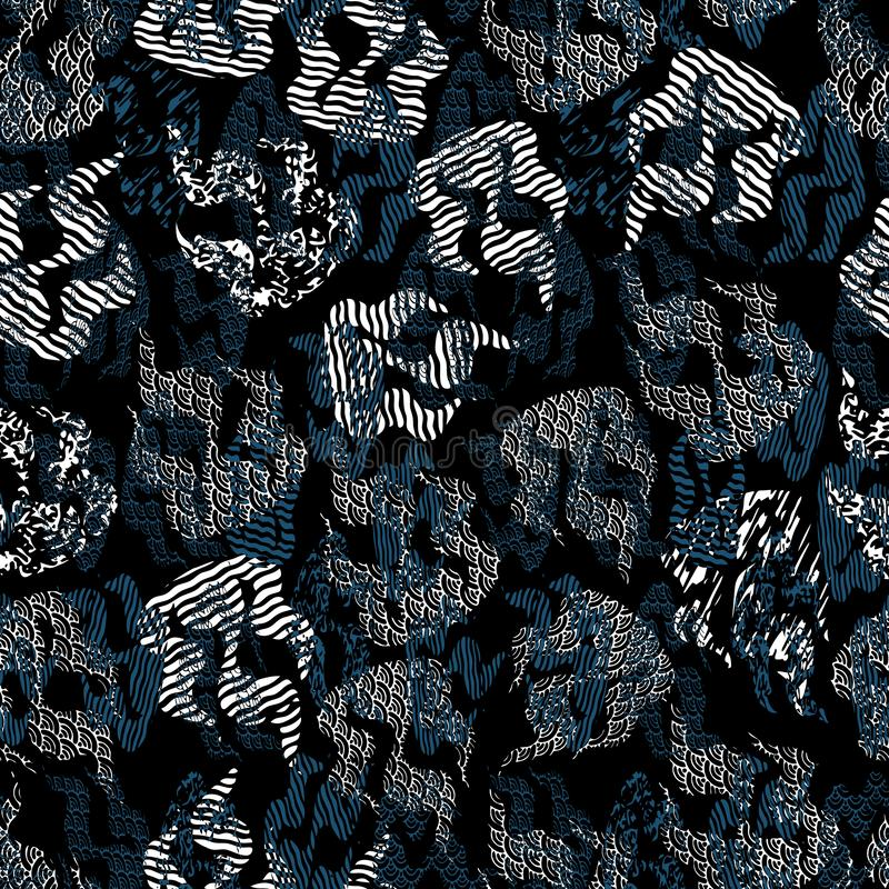 抽象火焰的无缝的样式例证与混杂的印刷品和错觉样式的 库存例证