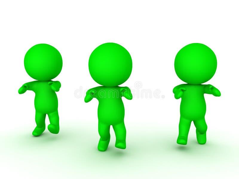 3D今后走三个绿色的蛇神的例证 向量例证