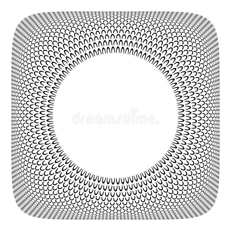 3D框架设计 圈子spattern在凸面方形的形状 向量例证