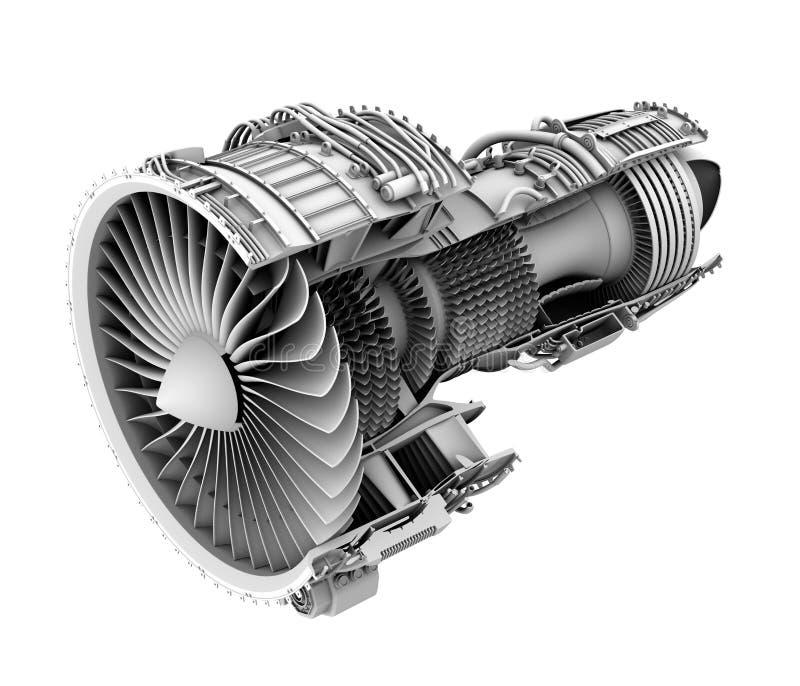 3D黏土切面图回报在白色背景隔绝的涡轮风扇飞机引擎 向量例证