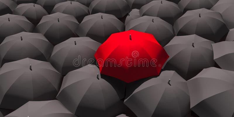 3d - 在许多黑伞中的红色伞 免版税库存图片
