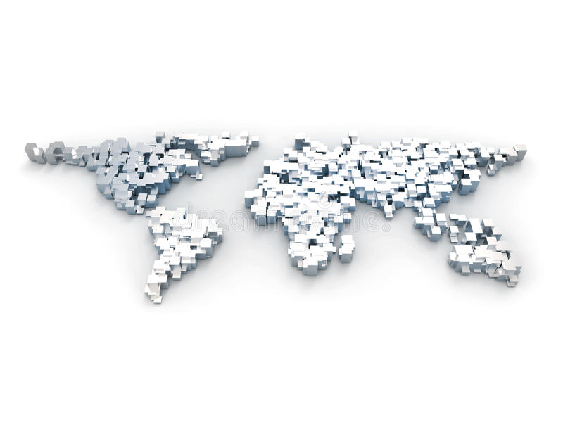 3d从块做的世界地图 向量例证