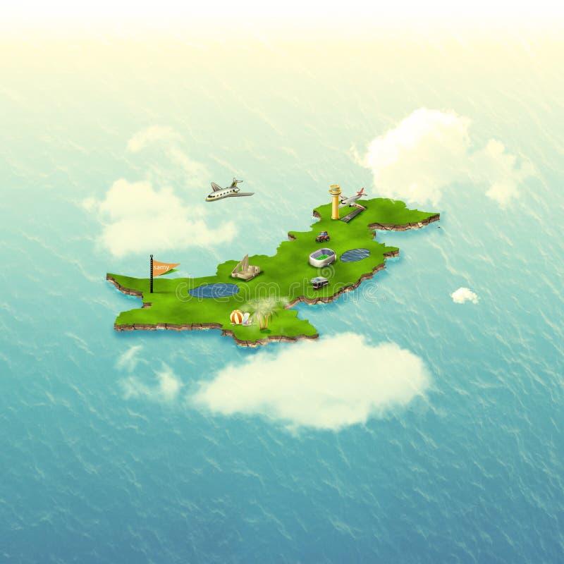 3D巴基斯坦地图结构 库存图片