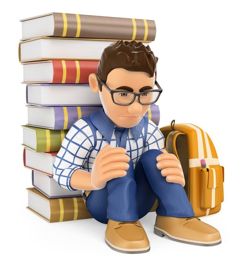 3D年轻学生沮丧 胁迫 库存例证