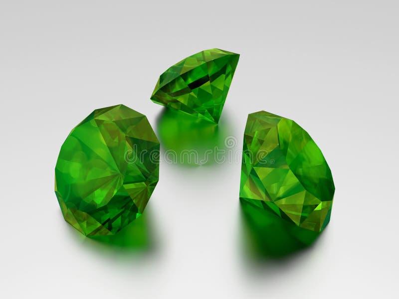 3D绿宝石- 3颗绿色宝石 皇族释放例证