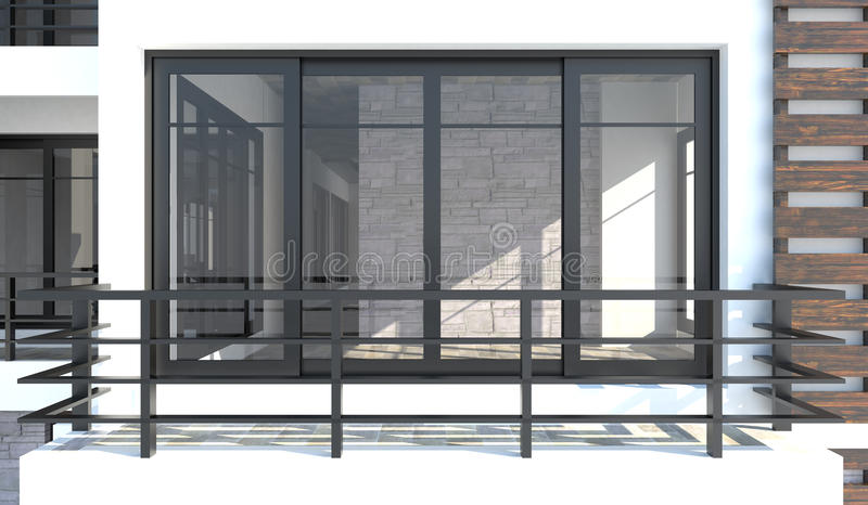 3D从室外看法的室在阳台前面 它是马胃蝇蛆 向量例证