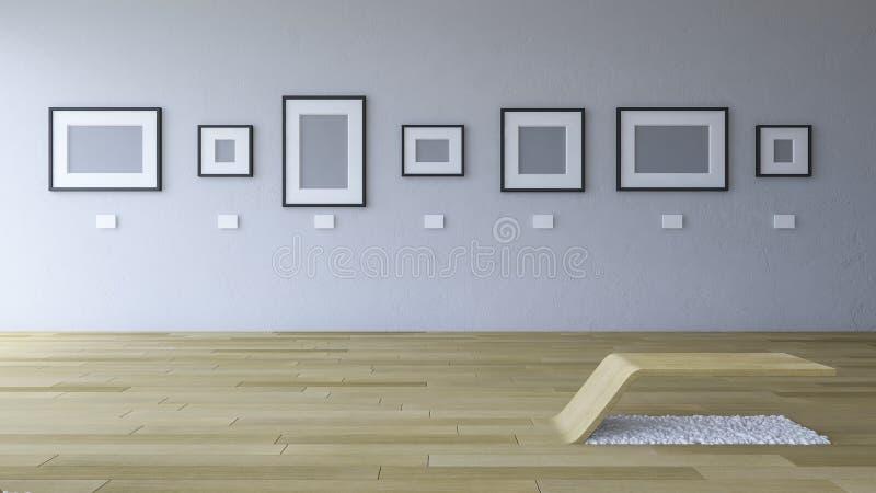 3d画廊室的翻译图象有空白的照片框架的 向量例证