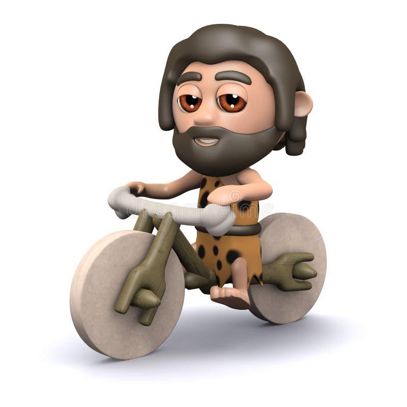 3d穴居人骑自行车的人 皇族释放例证